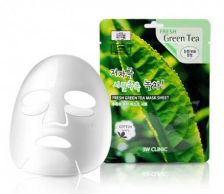 Тканевая маска для лица ЗЕЛЕНЫЙ ЧАЙ 3W CLINIC Fresh Green tea Mask Sheet 23мл: фото